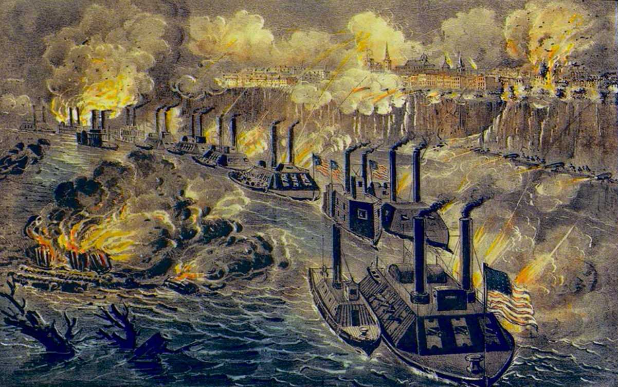 Admiral Porter's Fleet Running the Rebel Blockade of the Mississippi at Vicksburg, 16 April 1863